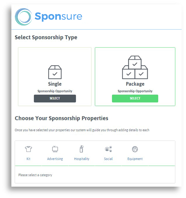 raise sponsorship with Sponsure, sponsorship properties, sponsorship package